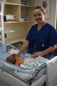 Neonatal midwife Alison MacLean providing vital care in the Special Care Nursery.